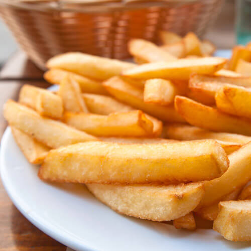 Golden Chips On A Plate