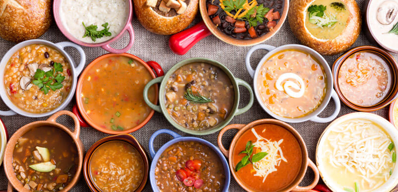 Selection Of Different Homemade Soups