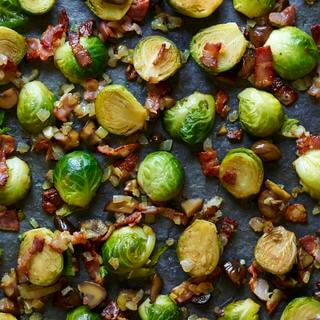 Stir Fried Brussels Sprouts With Bacon And Chestnuts