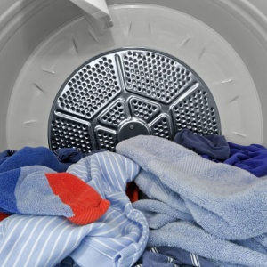 Tumble Dryer With laundry Inside