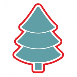 Blue And Red Christmas Tree Graphic