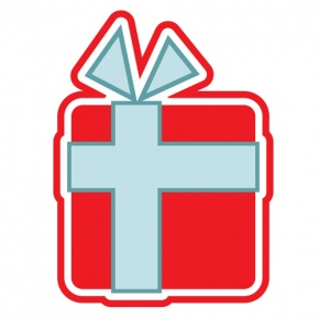Blue And Red Christmas Present Graphic