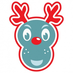 Blue And Red Rudolph Graphic
