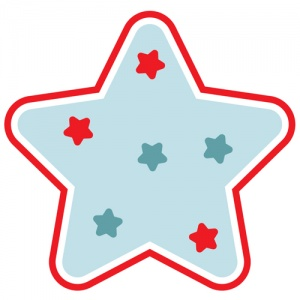 Blue And Red Christmas Star Graphic