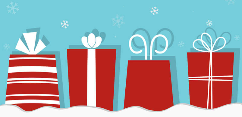 Graphic Of Red Gifts In Snow