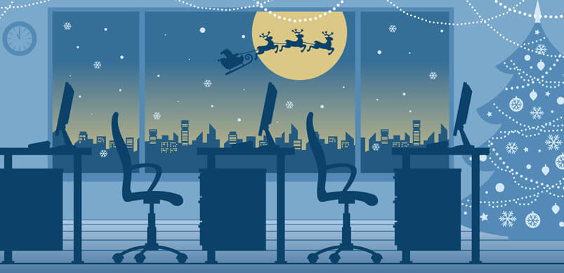 Office Christmas Traditions Graphic With Tree And Santa