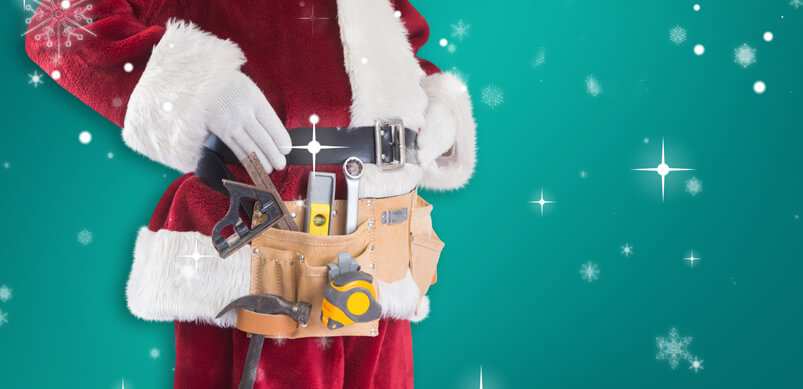 Santa Wearing a Toolbelt To Fix His Appliance