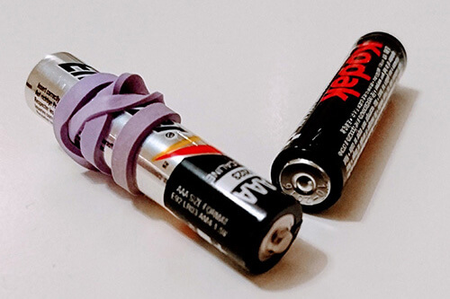 Batteries Wrapped In Rubber Bands