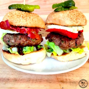 Gourmet Burgers With Bacon Cheese Halloumi And Peppers