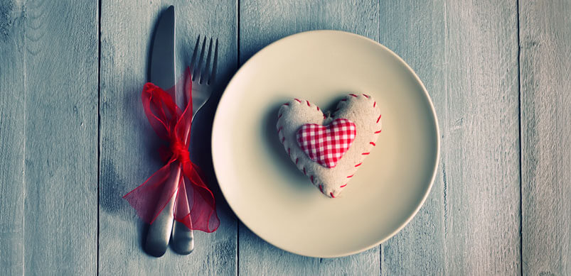 Restaurant Table With Heart On Plate