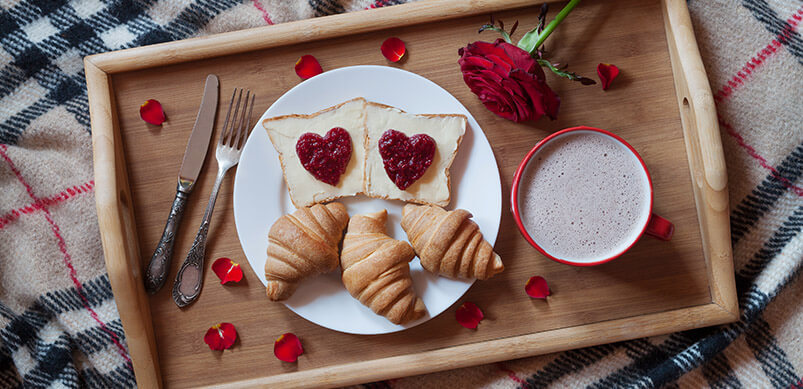 Toast Rose And Coffee On Breakfast Tray