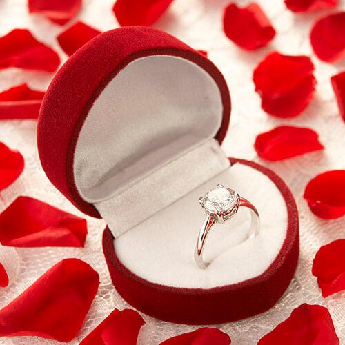 Diamond Ring In Heart Shaped Box