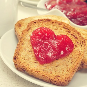Toast With Heart Shaped Jam