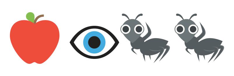 Apple Eye And Ant Emojis
