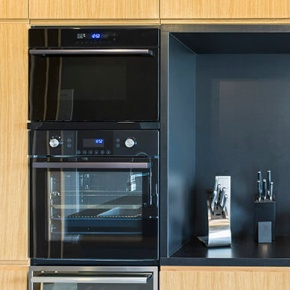 Black Oven In Kitchen