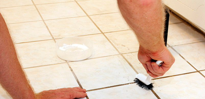 Cleaning Grout With Washing Up Brush
