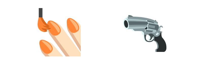 Nails And Gun Emojis