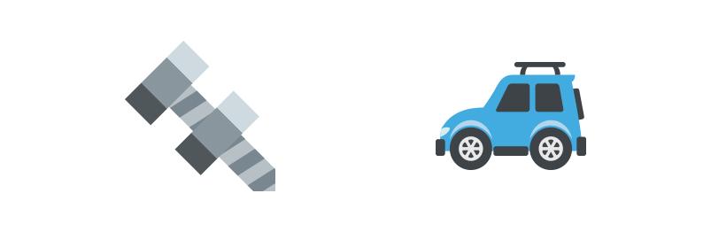 Screw And Car Emojis