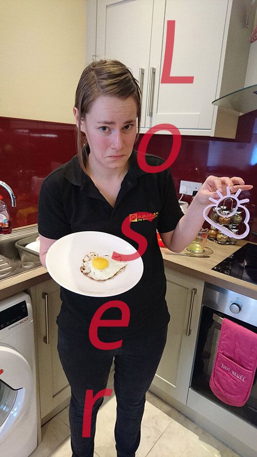Eleanor Posing With Fried Egg Mould