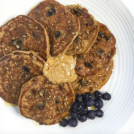 Peanut Butter And Blueberry Pancakes
