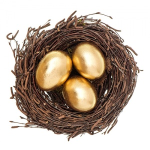 Three Golden Eggs In Nest