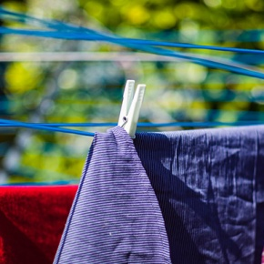 Clothes Hanging On Washing Line In Garden