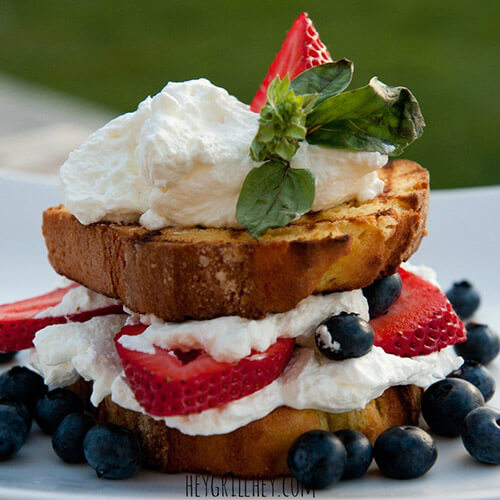 Grilled Lemon Cake With Berries And Cream