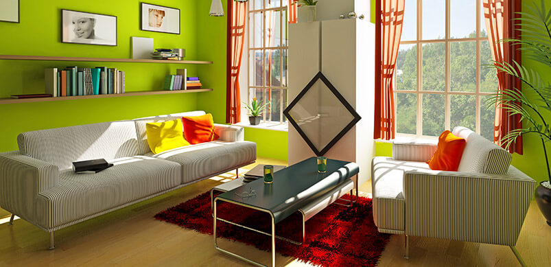 Modern Home With Green And Orange Colour Scheme