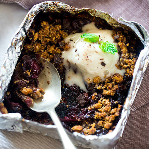 Nutty Honey Cherry Crisp Dessert