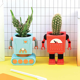Snazzy Robot Shaped Cactus Planters