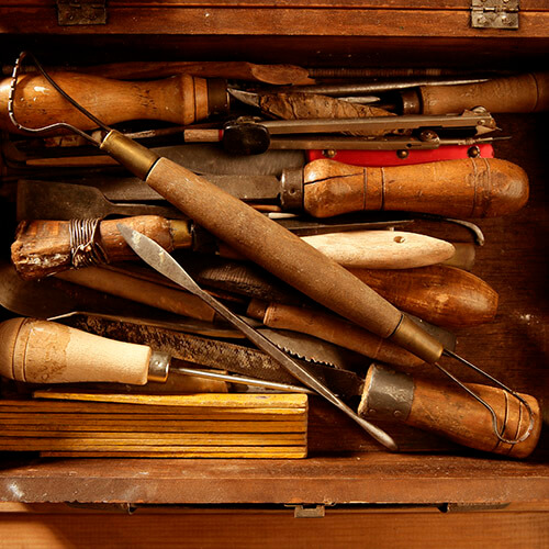 Selection Of Wooden Handled Tools