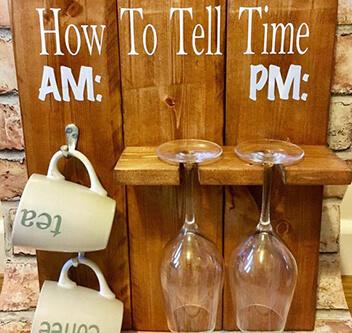 Wooden Mug And Wine Glass Holder