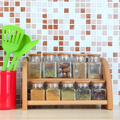 Wooden Spice Rack On Kitchen Bench