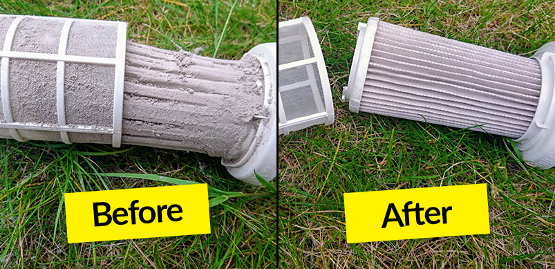 Dirty And Clean Vacuum Filter Before And After