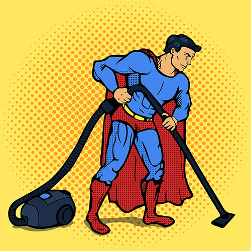 Pop Art Superhero Doing Vacuuming