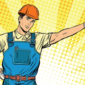 Appliance Engineer Cartoon With Drill