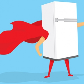 Cartoon Fridge Wearing Cape