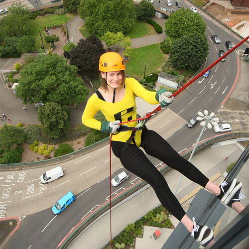 Eleanor Abseiling Down Park Regis