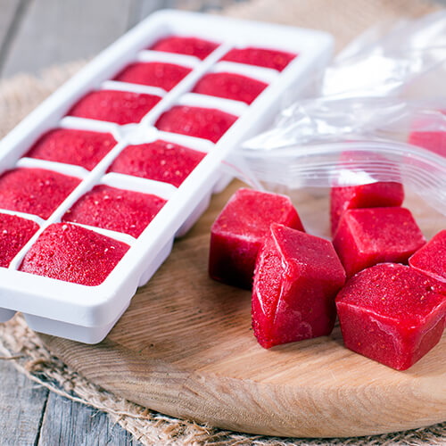 Frozen Fruit Juice In Ice Cube Tray