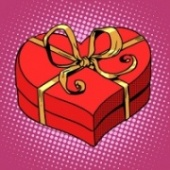 Pop Art Heart Shaped Box