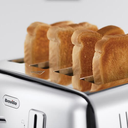 Silver Four Slice Toaster With Toast