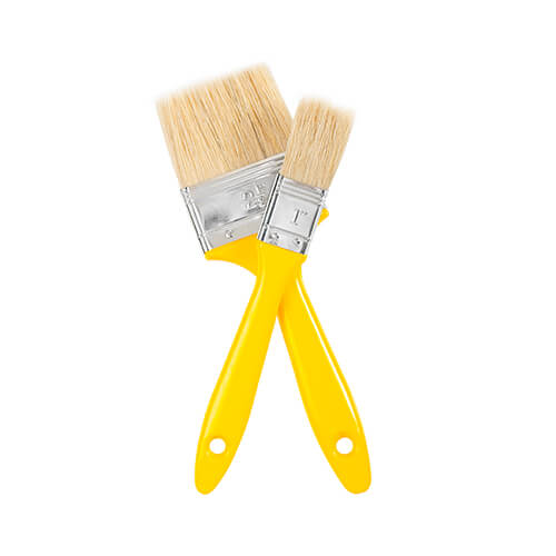 Two Paintbrushes With Yellow Handles