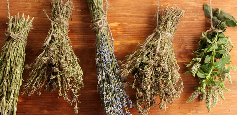 Dried Herbs Tied With String