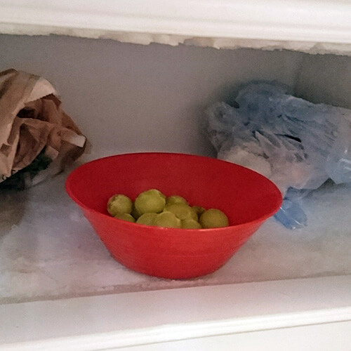 Grapes In Bowl In Freezer