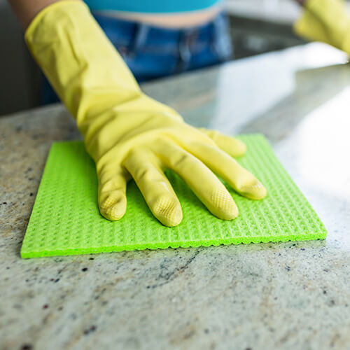Hand in Glove Cleaning Kitchen Counter