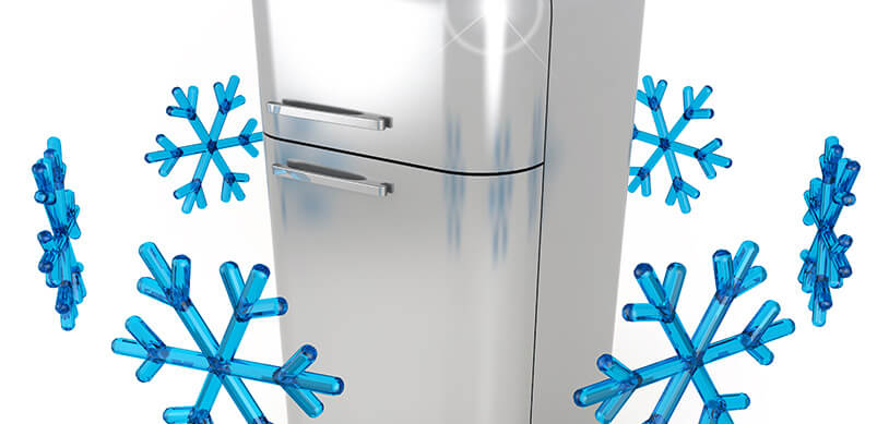 Steel Fridge With Blue Snowflakes Circling