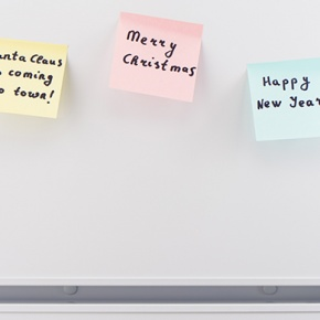 Fridge Door with Merry Christmas Sticky Notes