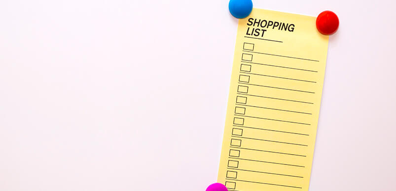 Shopping List Note On Fridge Door