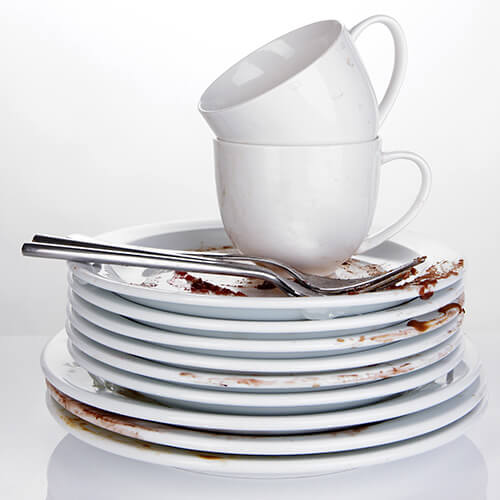 Dirty dishes and cups stacked up