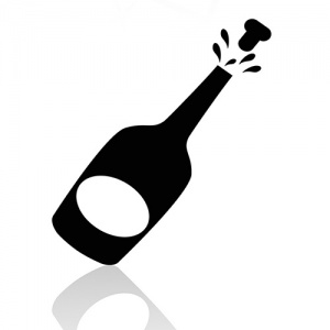Black And White Champagne Bottle Symbol